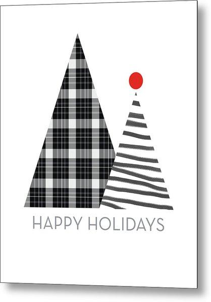 Modern Happy Holidays Trees- Art By Linda Woods Metal Print