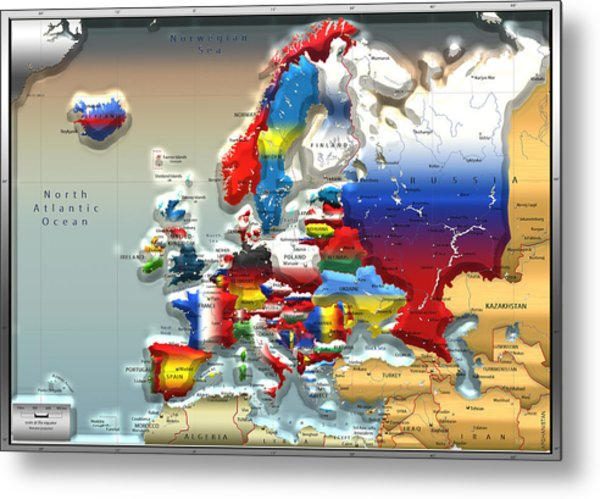 Modern Portrait Of Modern Europe - 3d Metal Print
