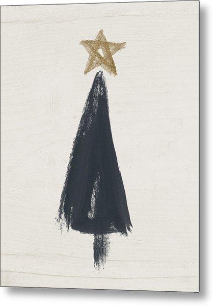 Modern Primitive Black And Gold Tree 3- Art By Linda Woods Metal Print