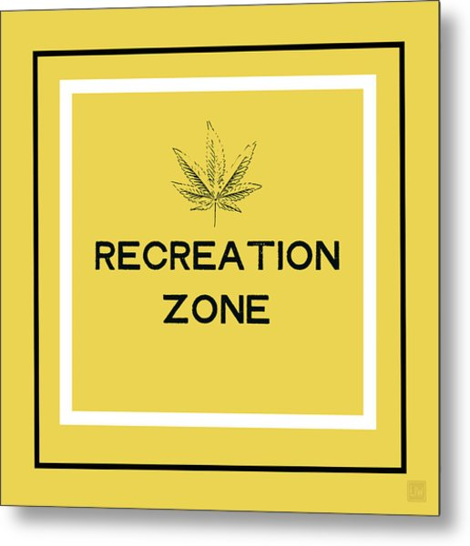 Modern Recreation Zone Sign- Art By Linda Woods Metal Print