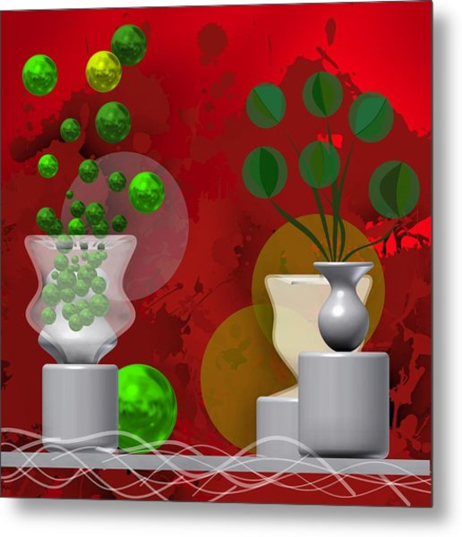 Metal Print featuring the digital art Modern Still Life In Bright Red by Alberto RuiZ