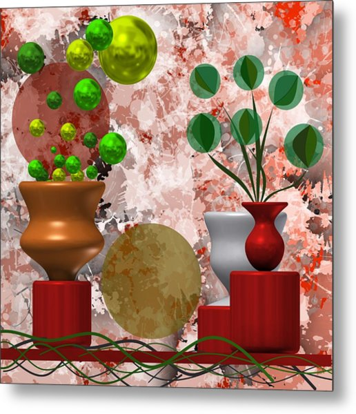 Metal Print featuring the digital art Modern Still Life With Abstract Flowers by Alberto RuiZ