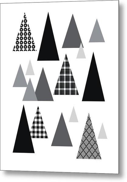 Modern Triangle Trees- Art By Linda Woods Metal Print