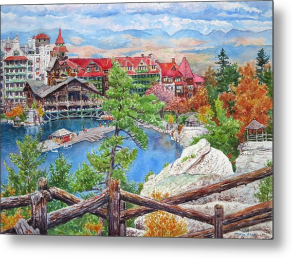 Mohonk Fall View From Cliffs Metal Print by Mira Fink