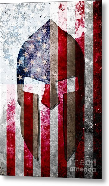Molon Labe - Spartan Helmet Across An American Flag On Distressed Metal Sheet Metal Print