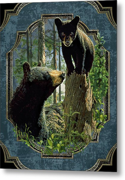 Mom And Cub Bear Metal Print
