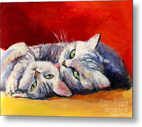 Mom And Kitten Cat Painting Metal Print