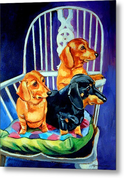 Mom's In The Kitchen - Dachshund Metal Print