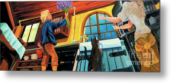 Metal Print featuring the painting Mom's Kitchen by Donna Hall