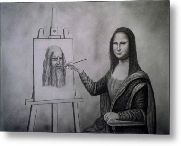 Mona Lisa Painting The Portrait Of Leonardo Da Vinci      Metal Print