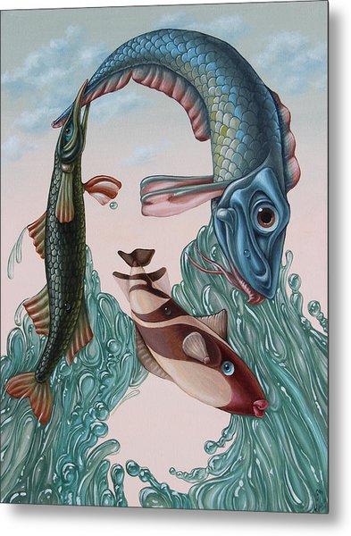 Mona Lisa. Water Metal Print