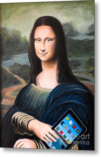 Mona Lisa With Ipad Metal Print