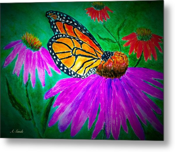Monarch Butterfly On Cone Flower Metal Print
