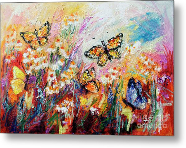 Monarch Butterflies And Chamomile Flowers Metal Print