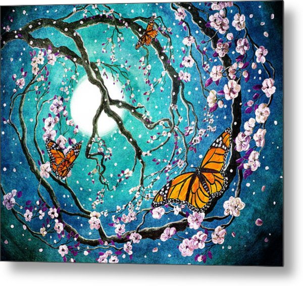 Monarch Butterflies In Teal Moonlight Metal Print