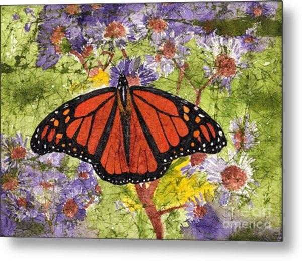 Monarch Butterfly On Purple Flowers Watercolor Batik Metal Print