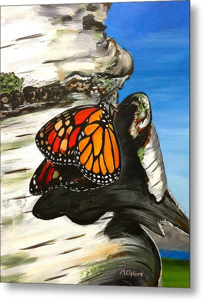 Monarch On Birch Metal Print