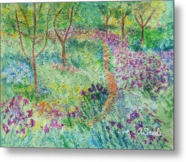 Monet Inspired Iris Garden Metal Print