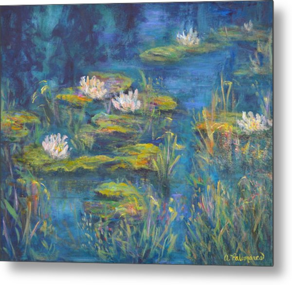 Monet Style Water Lily Marsh Wetland Landscape Painting Metal Print