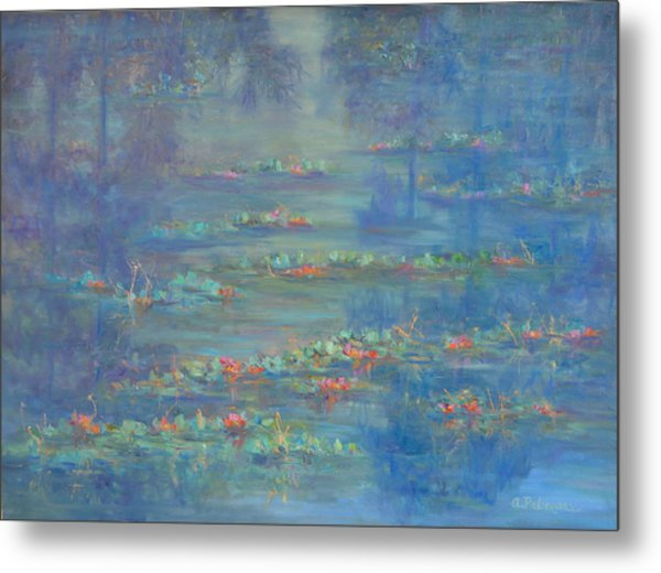 Monet Style Water Lily Pond Landscape Painting Metal Print