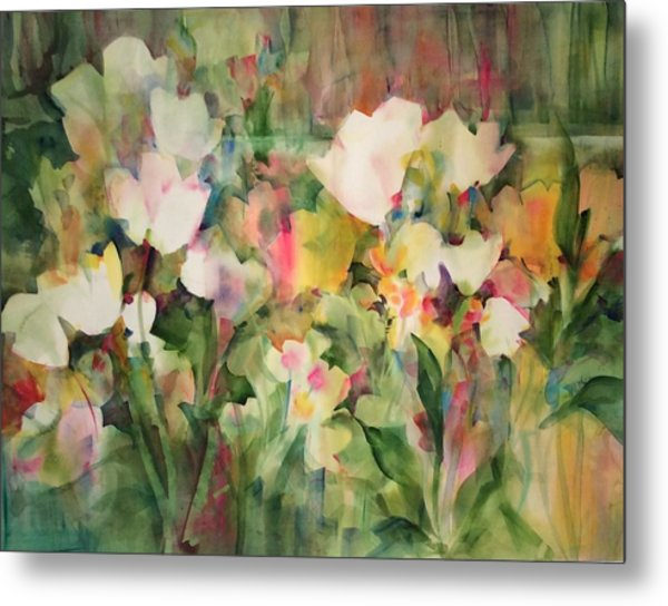 Monet's Tulips Metal Print