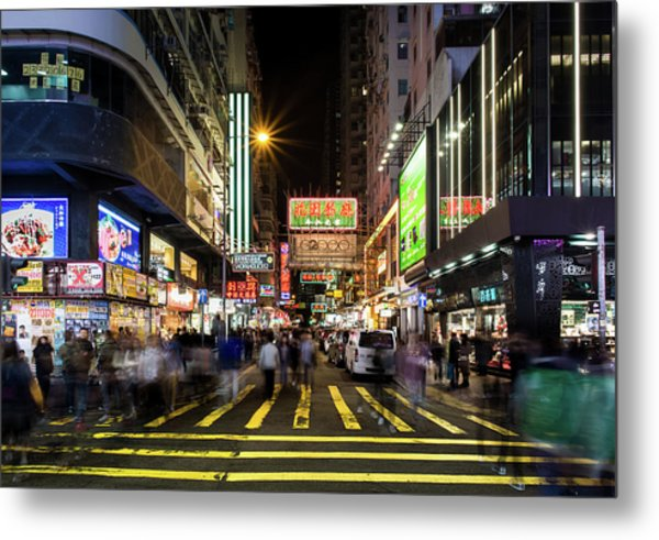 Metal Print featuring the photograph Mong Kok Crosswalk by Geoffrey Lewis