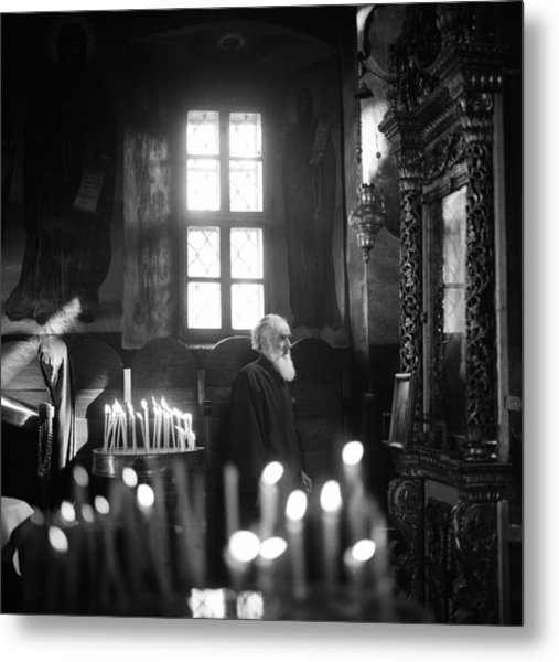 Monk And Candles Metal Print
