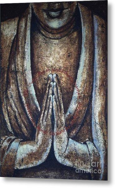 Monk Praying Metal Print by Paulina Garoa