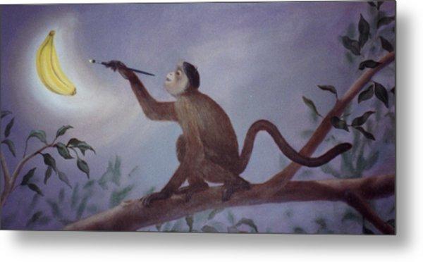 Monkey In The Moonlight Metal Print