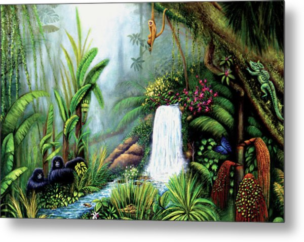 Metal Print featuring the painting Monkeying Around by Lynn Buettner