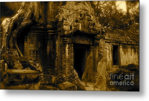 Monks Leaving Angkor Wat Metal Print