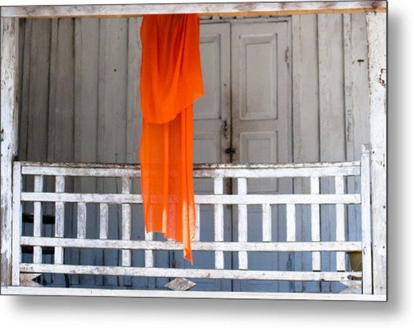 Monk's Robe Hanging Out To Dry, Luang Prabang, Laos Metal Print