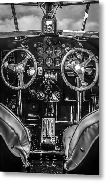 Monochrome Cockpit Metal Print