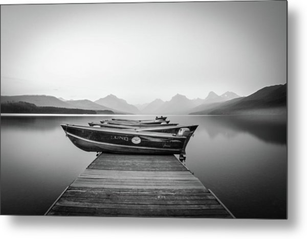 Monochrome // Lake Mcdonald, Glacier National Park Metal Print