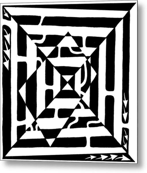 Monolith Maze Optical Illusion Metal Print by Yonatan Frimer Maze Artist