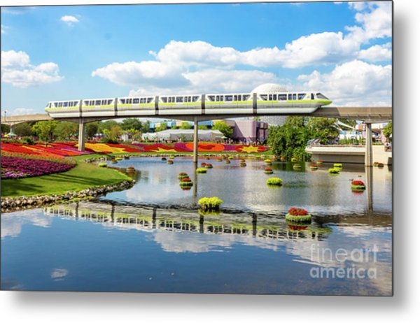 Monorail Cruise Over The Flower Garden. Metal Print