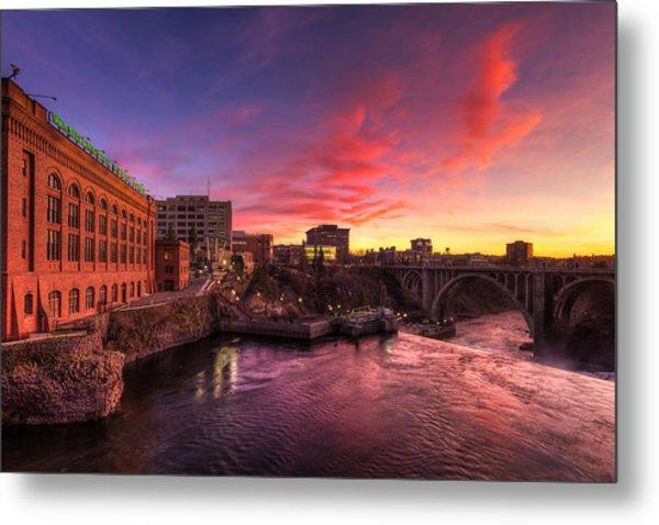 Monroe Bridge Sunset View Metal Print