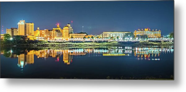 Monroe Louisiana City Skyline At Night Metal Print