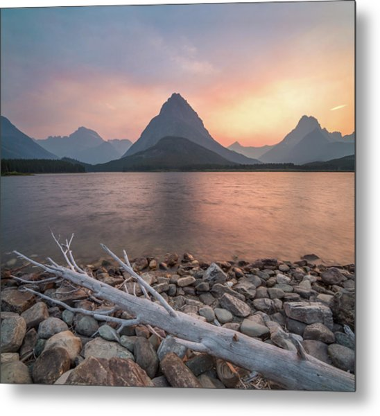 Montana Gold // Swiftcurrent Lake, Glacier National Park  Metal Print