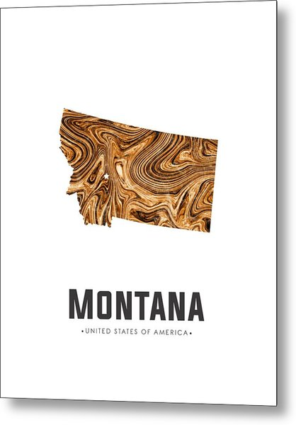 Montana Map Art Abstract In Brown Metal Print