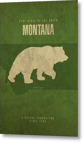 Montana State Facts Minimalist Movie Poster Art Metal Print