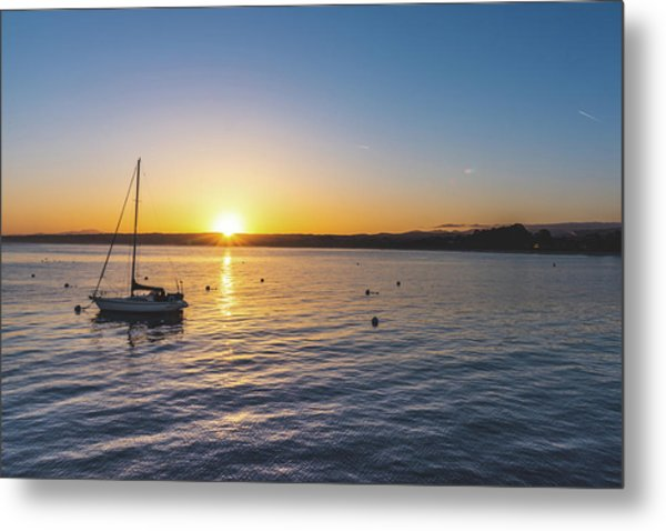 Metal Print featuring the photograph Monterey Bay Sailboat At Sunrise by Philip Rodgers