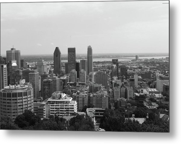 Montreal Cityscape Bw Metal Print