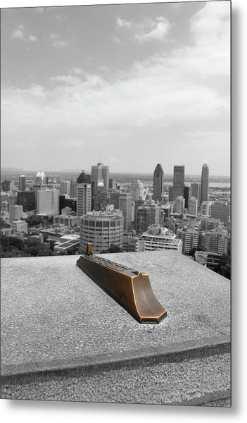 Montreal Cityscape Bw With Color Metal Print