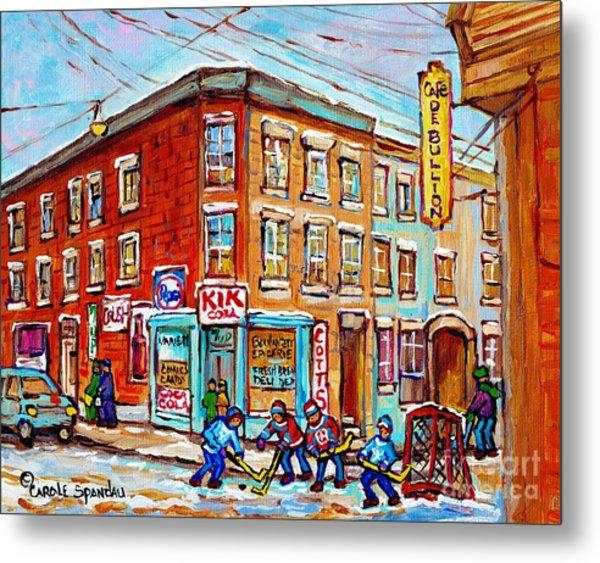 Montreal Storefront Paintings Debullion Street Hockey Art Quebec Winterscenes C Spandau Canadian Art Metal Print