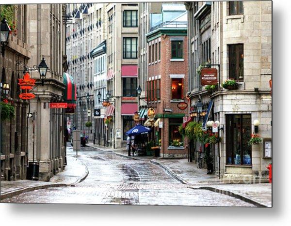 Montreal Street Scene Metal Print by John Rizzuto