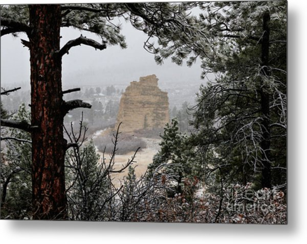 Monument Rock In The Snow Metal Print