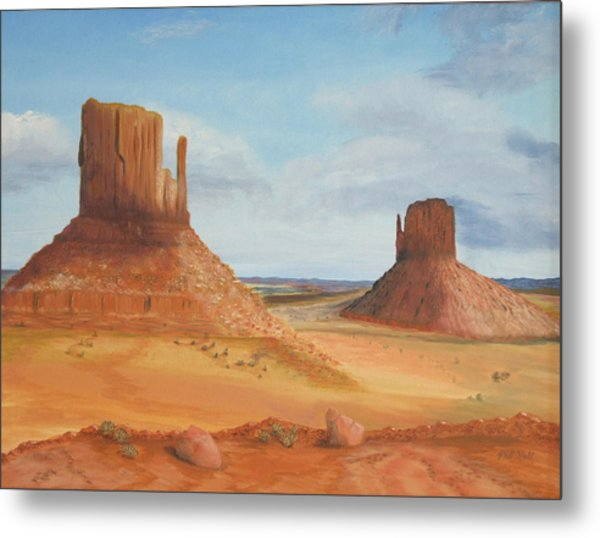 Monument Valley    The Mittens Metal Print by Philip Hall