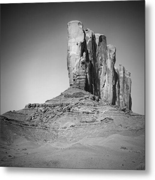 Monument Valley Camel Butte Black And White Metal Print by Melanie Viola
