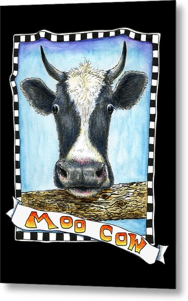 Metal Print featuring the drawing Moo Cow In Black by Retta Stephenson